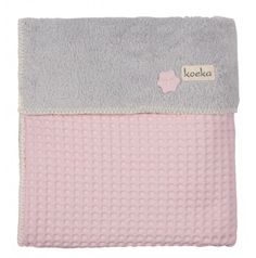 Koeka Kinderdecke Waffel/Teddy Oslo, baby pink/silver grey 100 x 150cm