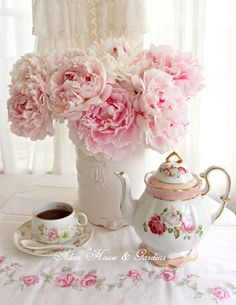 Peonies & coffee ..saved by Antonella B.Rossi