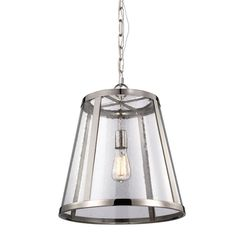 Off Harrow Polished Nickel One Light Pendant with Clear Seedy Glass Panel by Feiss. @ The Feiss Harrow one light indoor pendant in polished nickel provides abundant light to your home, while addin Ceiling Pendant, Pendant Lighting, Ceiling Lights, Light Pendant, Drum Pendant, Brass Pendant, Sloped Ceiling, Installing Light Fixture, Transitional Lighting