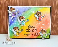 Stamps At Play: Lawn Fawn Fairy Friends Rainbow Fairies Card
