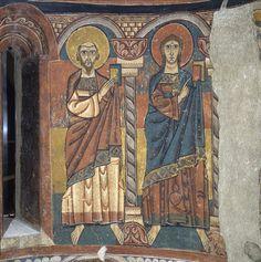 Santa María de Tahull. Detalle de dos de los integrantes del colegio apostólico: Pablo y Juan.
