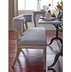 Livingston Modern Classic Curved Back Grey Dining Bench. #kathykuohome