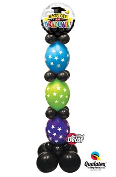 This graduation column is easy to make and very classy. It is built with star-printed Quick Links topped with a Microfoil balloon. Balloon Columns, Balloon Arch, Qualatex Balloons, Ballon Decorations, Balloon Stands, Graduation Balloons, Balloons And More, School Events, Toddler Fun