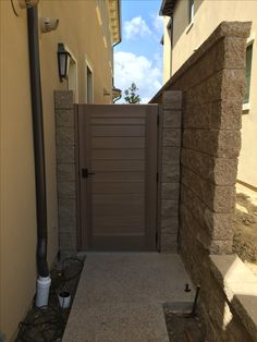 Custom Wood Gate by Garden Passages - Beautifully Stained Square Topped side gate Outdoor Gates, Outdoor Decor, Garden Gates And Fencing, Side Gates, Outdoor Projects, Custom Wood, Yard Ideas, Dining Area, Beautiful Homes