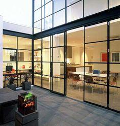 Steel Windows and Doors Aluminium Glass Door, Aluminium Windows, Steel Windows, Windows And Doors, Sliding Windows, Steel Doors, Interior Architecture, Interior And Exterior, Contemporary Windows