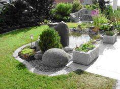 teich, grüne pflanzen und steine für eine schöne garten gestaltung, Garten und bauen