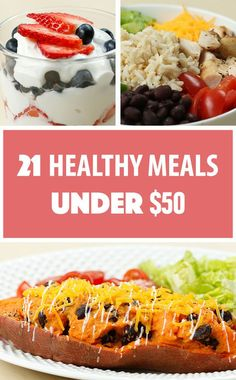 There's a common misconception that eating healthy is expensive. After coming up with a grocery list and doing some savvy shopping, we came up with 21 healthy meals for under $50. That's three single-serving meals a day for seven days to keep your wallet AND your belly happy! | Here's How To Make 21 Healthy Meals For Under $50