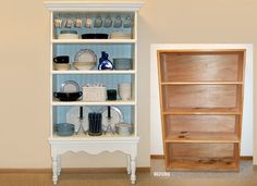 Instructions on how to turn a plain bookcase into a pretty display piece.