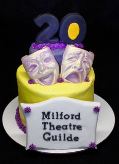 This was the cake that was on the top tier of a cupcake tower for the Milford Theatre Guilde's 20th anniversary gala.