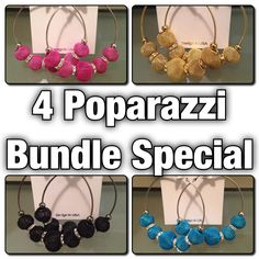 4 colors of Poparazzi Earrings for only $24! ($38 value) #poshmark #dosamores [via ElChulo]