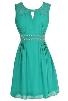Gold Studded Chiffon Dress in Jade