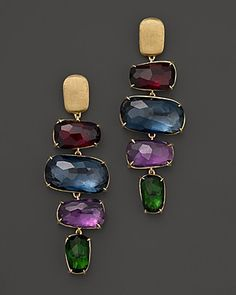 """Marco Bicego Murano 18K Gold Drop Earrings with Semi Precious Stones  PRICE: $3,910.00  A mix of richly hued semi-precious stones lend statement style to these 18K gold drop earrings from Marco Bicego.  Made in Italy  18K yellow gold/Green Tourmaline/London Blue Topaz/Amethyst/Rhodalite  1.8"""" drop  Post bac"""