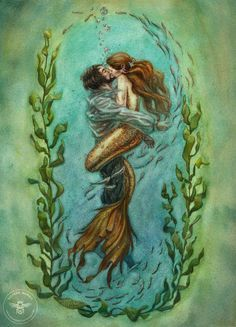 Here's my interpretation of the moment at which The Little Mermaid rescues her prince. 2013. Watercolour, gouache and white ink. A3. You can see the steps by which I made this painting here belillu...