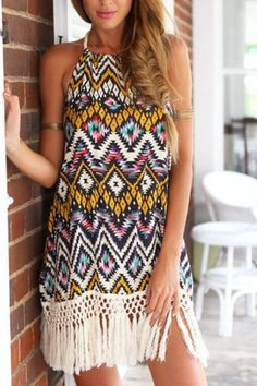 [] Vestido de estampado de estampado de tribu con detalles de borla