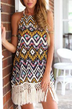 Tribe Print Pattern Dress With Tassel Details