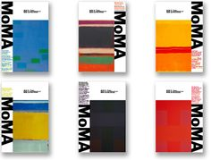 MoMA logo as a graphic juxtaposed with artwork, bright colors create a bold, contemporary image.