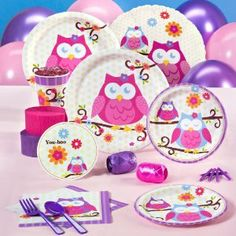 Owl Blossom Standard Pack for 16 by Birthday Express. $37.37. Standard Pack for 16 includes: (16) invitations, dinner plates, dessert plates, cups, forks, spoons, knives, (32) napkins, solid-color tablecover, foil balloon, (12) balloons (2 colors), curling ribbon (2 colors), crepe paper rolls (2 colors), and cake candles.. Save 28% Off!