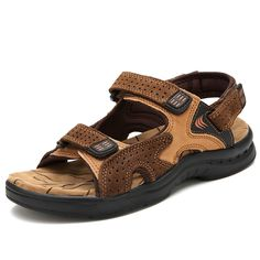 c56e5bd33c1e Aliexpress.com   Buy Sandal Shoes Men 2016 Summer Fashion Calzado Hombre  Designer Beach Sapatos Size 38 to 44 Black Brown Gold Yellow from Reliable  sandal ...
