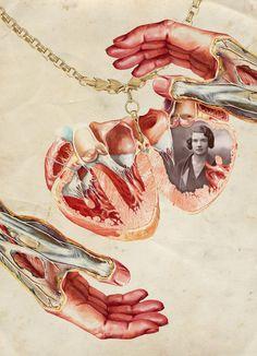 O designer e ilustrador de Moscow FF0 mantém um tumblr onde publica suas colagens e ilustrações. Além de um belíssimo alfabeto floral. Para os viciados em anatomia, pinups e colagem, um prato cheio.