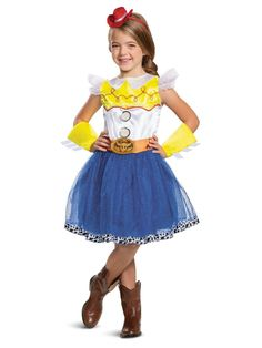 Fans of Toy Story will enjoy wearing this Toy Story 4 Jessie Tutu Deluxe Child's Halloween Costume for trick or treating or for watching DVDs of the Toy Story gang. Costume includes a dress with blue tutu, cuffs, and headband with red hat.