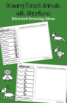 This set of direct drawing ideas features forest animals. The directions of creating each of the animals is displayed on Blockly coding blocks. Drawing Activities, Craft Activities For Kids, Science Activities, Camping Activities, Preschool Ideas, Kids Crafts, Early Learning, Kids Learning, Christmas Tree Base