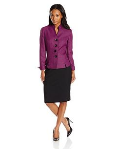 Le Suit Women's 4 Button Graphic Weave Jacket and Skirt Suit Set, Orchid/Black, 4 >>> To view further for this item, visit the image link.