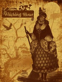 INSTANT DOWNLOAD Witch Illustration The Witching Hour PRINTABLE #greetingcard #halloween