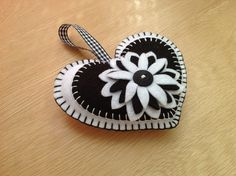 SALE! White & Black Felt Heart Shaped Door Hanging Decoration