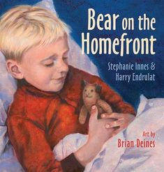 """During World War II, 10,000 children from British cities were sent to live with host families in Canada, the United States, and other nations away from the war zone. Bear on the Homefront tells the story of two guest children, Grace and William Chambers, who arrive in Halifax and meet Aileen Rogers, a nurse serving on the homefront."" #canlit #kidlit #picturebooks"