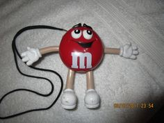 M&M's RED RADIO AM FM NECK CORD CLIP ON FREE STANDING RADIO M&M WORKS GREAT #MM