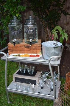 Fun drink station at a Summer birthday party! See more party ideas at CatchMyParty.com!