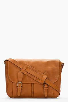 A.P.C. Camel brown pebbled leather stachel