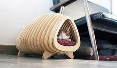 Design moderno para gatos e cachorros. Casinha de madeira faz bonito até na sala
