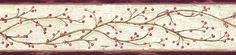 Pennsylvania Winterberry Branches Trail Border Merlot-Parchment Wallpaper BBC44614B