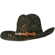Black Open Weave Cowboy Hat With Western Studded Band ($19) ❤ liked on Polyvore featuring accessories, hats, black, cowboy rocker, brimmed hat, wide straw hat, straw cowboy hats, band hats and cocktail hat