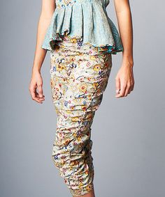 Another great find on #zulily! Beige & Yellow Floral Ruched Capri Pants by Nuvula #zulilyfinds