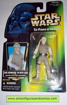 star wars action figures LUKE SKYWALKER HOTH GEAR no holo power of the force 1996 hasbro toys moc mip mib