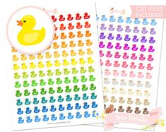 Rubber Ducky Printable Planner Stickers Silhouette Cut Files Baby Bath Time Bubble Bath planner stickers. Personal Use DIY Sticker PDF by RobinPrintables