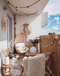 Furniture Wall macrame boho wall decoration wall dream catcher wool wall hanging wool macrame wool w Small Balcony Design, Small Balcony Decor, Balcony Ideas, Outdoor Balcony, Balcony Chairs, Small Balcony Garden, Small Terrace, Small Balconies, Patio Ideas