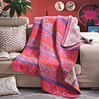 Reversible 125 x 150cm Cotton Multicolored Boho Quilted Throw Blankets by Exclusivo Mezcla: Amazon.co.uk: Kitchen & Home