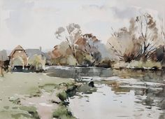 Edward Wesson (1910 — 1983, UK) A river landscape. watercolour. 32 x 45 cm. (12 1/2 x 17 3/4 in.)