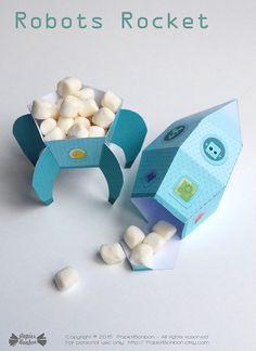 Rocket favor box printable space ship rocket by PapierBonbon