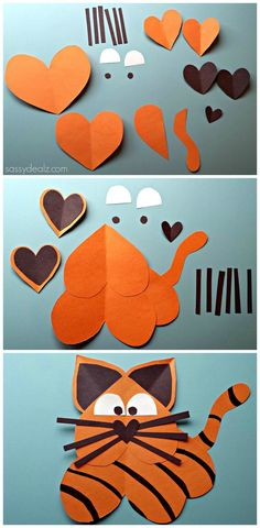 Tiger Craft For Kids made out of paper hearts! #Valentines art project for boys #DIY   CraftyMorning.com