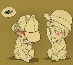 Baby Sherlock and John and their hats.