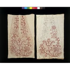 Unfinished pocket fronts, Hannah Haines, Great Britain; 1718 - 1720; silk embroidery on linen, sewn with linen thread.