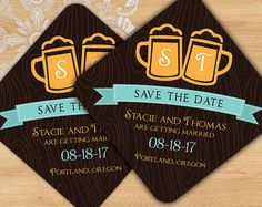Beer Themed Save the Date Coasters for Weddings