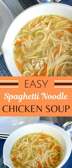 Chicken Soup With Spaghetti Noodles - An easy chicken nocdle soupe recipe that you can make with spaghetti noodles. Tasty and hearty! Best Soup Recipes, Chowder Recipes, Chicken Soup Recipes, Healthy Soup Recipes, Cooking Recipes, Chili Recipes, Hamburger Recipes, Vegetarian Cooking, Easy Recipes