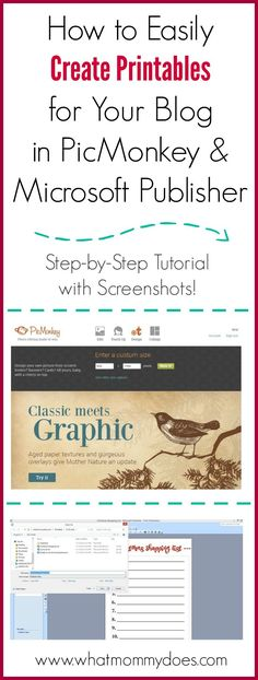 How to make your own printables in picmonkey and microsoft publisher << WhatMommyDoes // design