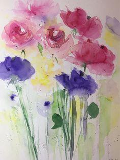 ORIGINAL AQUARELL 11,8 x 15,7 Zoll ( 30 x 40 cm) abstrakte Malerei Bild Kunst Blumenmalerei Blumen Wiesenblumen von GalerieSilberschatz auf Etsy https://www.etsy.com/de/listing/583605244/original-aquarell-118-x-157-zoll-30-x-40