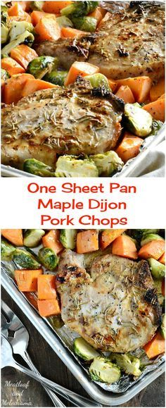 One Sheet Pan Maple Dijon Pork Chops with Brussels Sprouts and Sweet Potatoes - A lighter and healthier low carb fall dinner ready in 30 minutes with easy clean up!